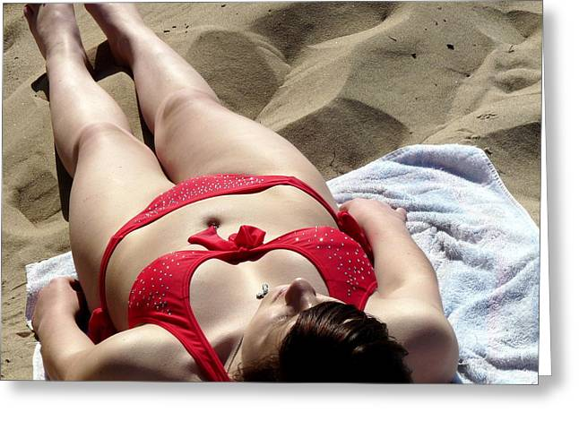 Sweating Photographs Greeting Cards - Red Bikini 2 Greeting Card by Jeff Lowe