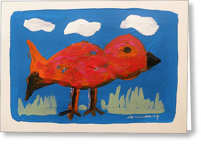Work On Paper Drawings Greeting Cards - Red Bird in Grass Greeting Card by John  Williams
