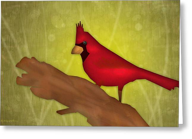 Greeting Cards - Red Bird Greeting Card by Melisa Meyers