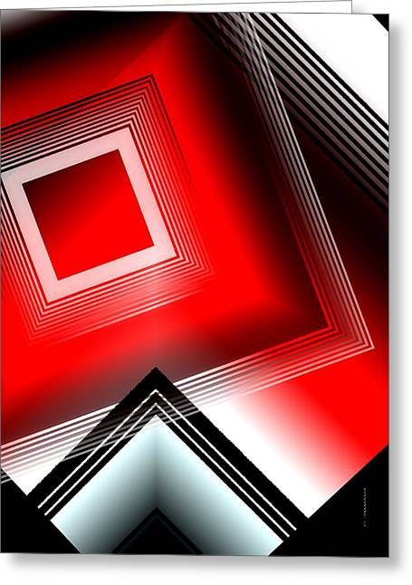 Transparency Geometric Greeting Cards - Red black and white Greeting Card by Mario  Perez
