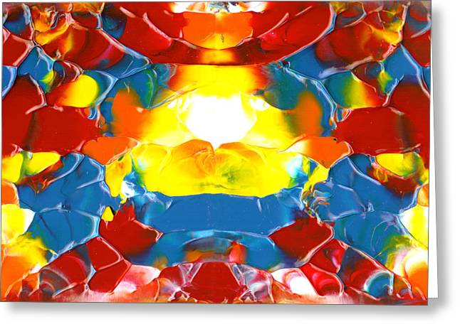 Art By Carl Deaville Greeting Cards - Red Blue Yellow Panels October Two K O Five Greeting Card by Carl Deaville
