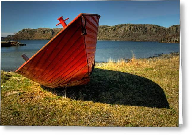 Voyageurs Greeting Cards - Red Boat Greeting Card by Jakub Sisak