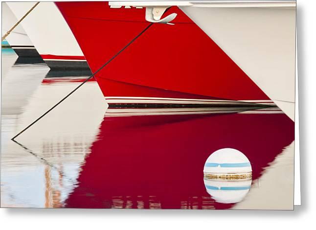 Brian Bonham Greeting Cards - Red Boat Reflection Greeting Card by Brian Bonham