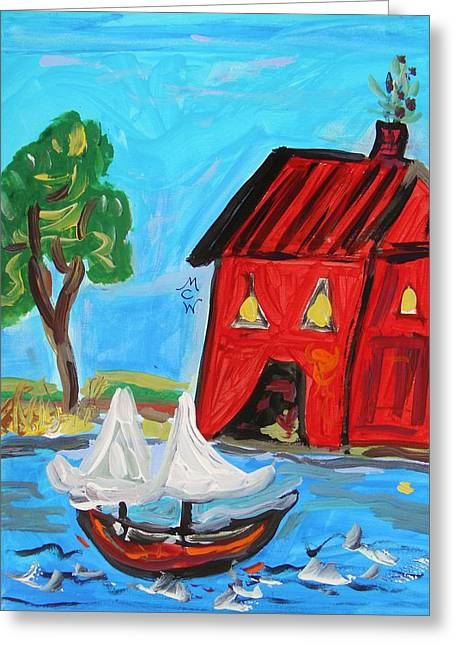 Blue Sailboats Drawings Greeting Cards - Red Boathouse and Red Sailboat Greeting Card by Mary Carol Williams