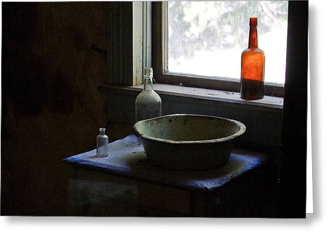 Photography Of Liquor Greeting Cards - Red Bottle Night Stand Greeting Card by Lorraine Devon Wilke