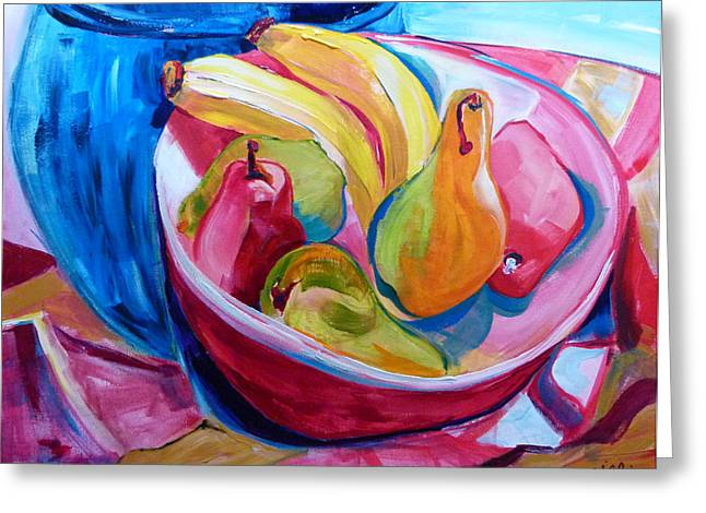 Suzanne Willis Greeting Cards - Red Bowl with Fruit Greeting Card by Suzanne Willis