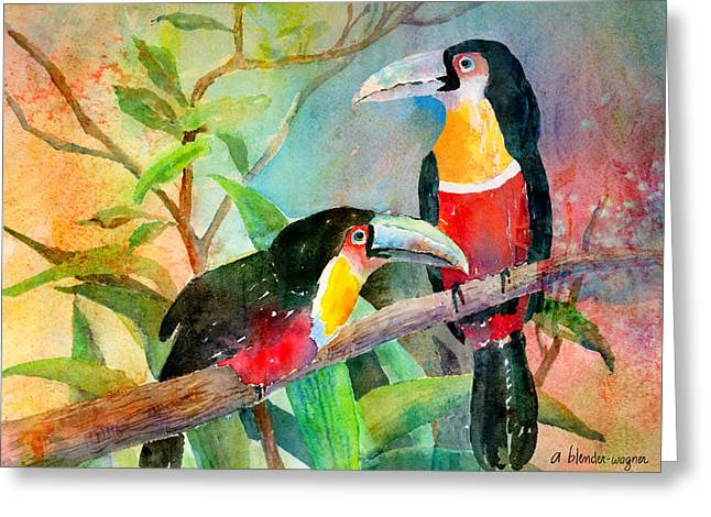 Red-breasted Toucans Greeting Card by Arline Wagner