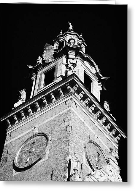 Polish City Greeting Cards - red brick Wawel cathedral clock tower at the entrance to Wawel Castle Krakow Greeting Card by Joe Fox