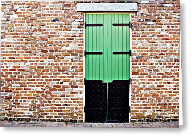 Architecture Textured Art Greeting Cards - Red Bricks, Green Door Greeting Card by Ray Laskowitz