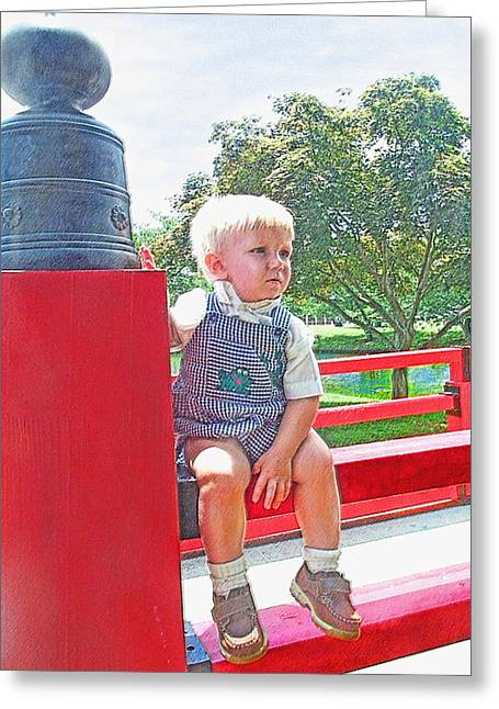 Little Boy Digital Art Greeting Cards - Red Bridge Greeting Card by Jane Schnetlage