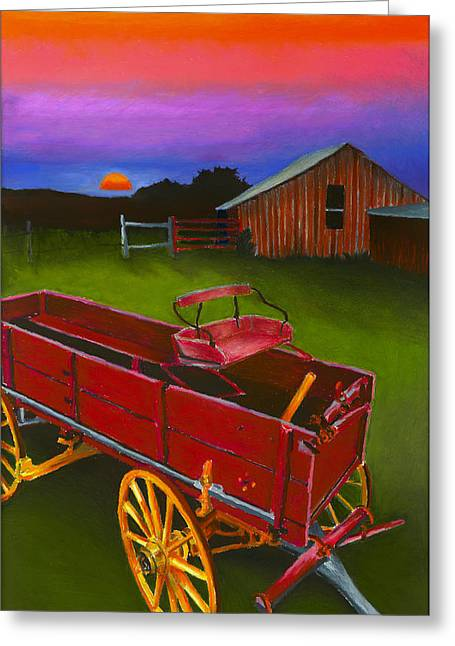 Barn Pastels Greeting Cards - Red Buckboard Wagon Greeting Card by Stephen Anderson