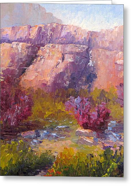 Red Bud Trees Greeting Card by Terry  Chacon
