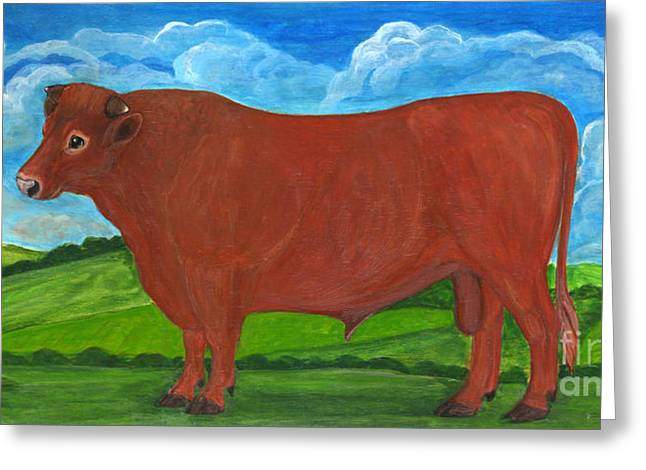Folkartanna Paintings Greeting Cards - Red Bull Greeting Card by Anna Folkartanna Maciejewska-Dyba
