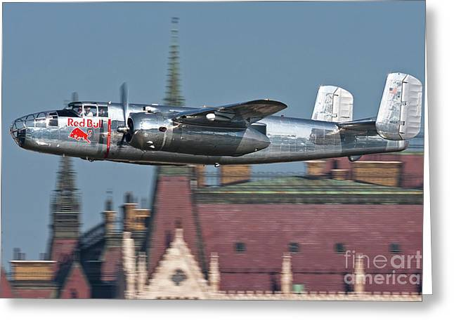B-25 Mitchell Greeting Cards - Red Bull North American B-25j Mitchell Greeting Card by Anton Balakchiev
