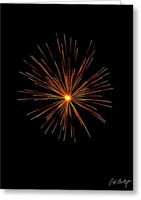 July 4th Greeting Cards - Red Burst Greeting Card by Phill  Doherty