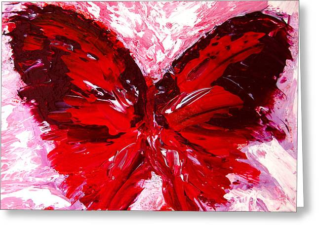 Best Sellers -  - Abstract Expressionist Greeting Cards - Red Butterfly Greeting Card by Patricia Awapara