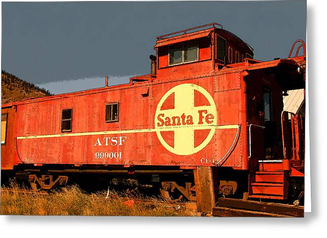 Old Caboose Greeting Cards - Red Caboose Greeting Card by David Lee Thompson