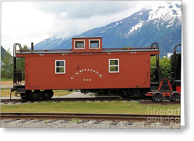 Caboose Photographs Greeting Cards - Red Caboose Greeting Card by Sophie Vigneault