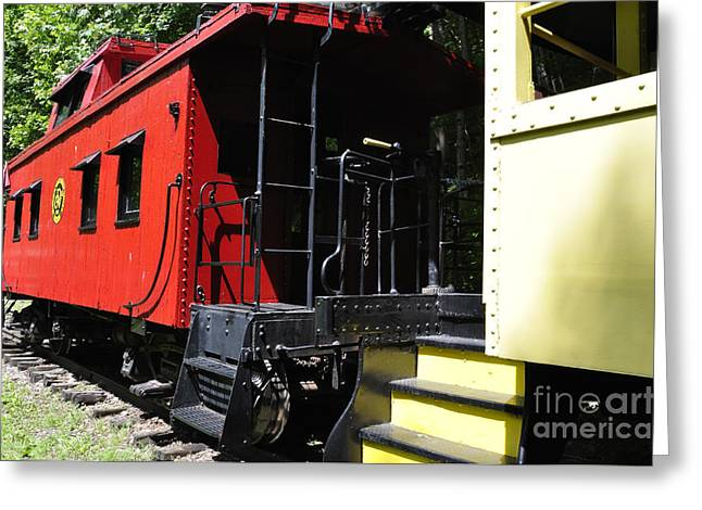 Old Caboose Greeting Cards - Red Caboose Greeting Card by Thomas R Fletcher