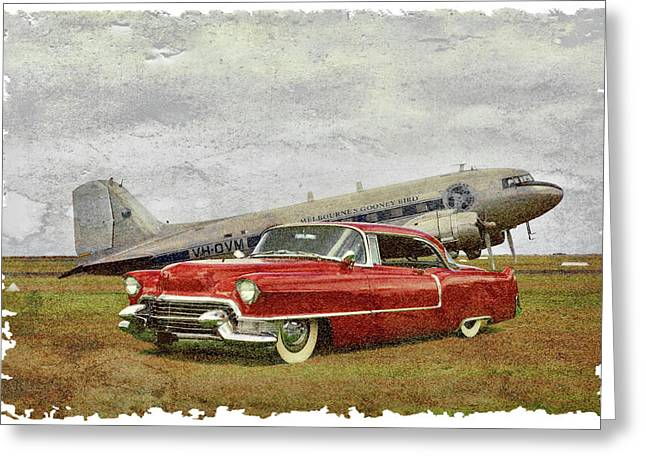Steven Agius Greeting Cards - Red Cadillac Greeting Card by Steven Agius