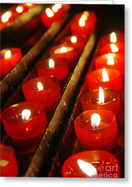 Background Greeting Cards - Red Candles Greeting Card by Carlos Caetano