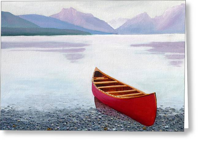 Canoe Paintings Greeting Cards - Red Canoe Greeting Card by Dillard Adams