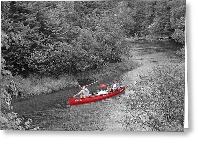 Red canoe Greeting Card by Jim Wright