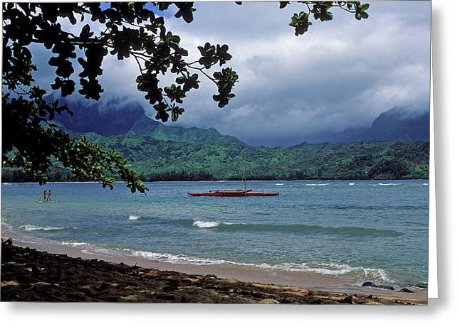 Framed Photos Greeting Cards - Red Canoe on Hanalei Bay Greeting Card by Kathy Yates