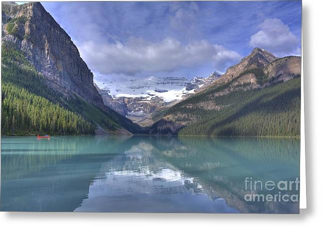 Canoe Photographs Greeting Cards - Red Canoe On Lake Louise Greeting Card by Larry Whiting