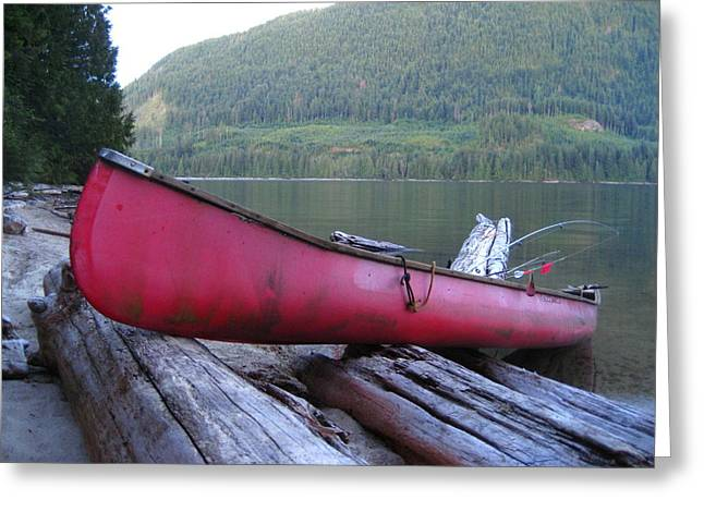 Canoe Pyrography Greeting Cards - Red  Canoe Greeting Card by Shawn Hegan