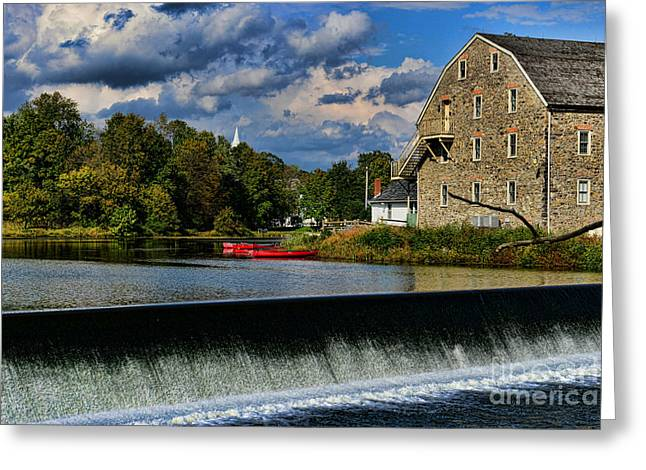Canoe Waterfall Greeting Cards - Red Canoes at the Boathouse Greeting Card by Paul Ward
