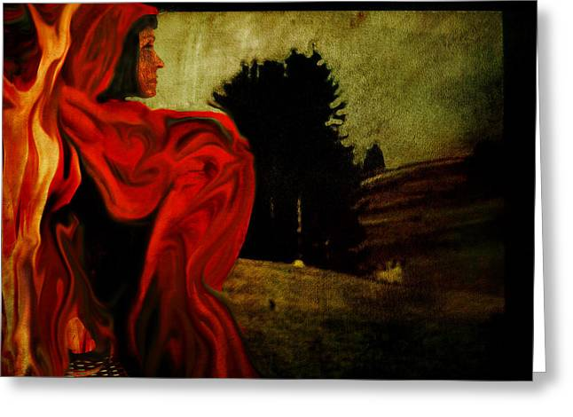 Surreal Landscape Mixed Media Greeting Cards - Red Cape Greeting Card by Janet Kearns