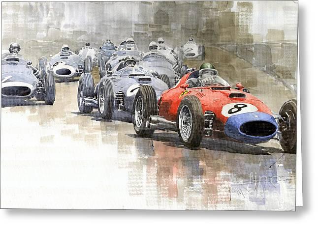 M Greeting Cards - Red Car Ferrari 801Mike Hawthorn German GP 1957  Greeting Card by Yuriy  Shevchuk