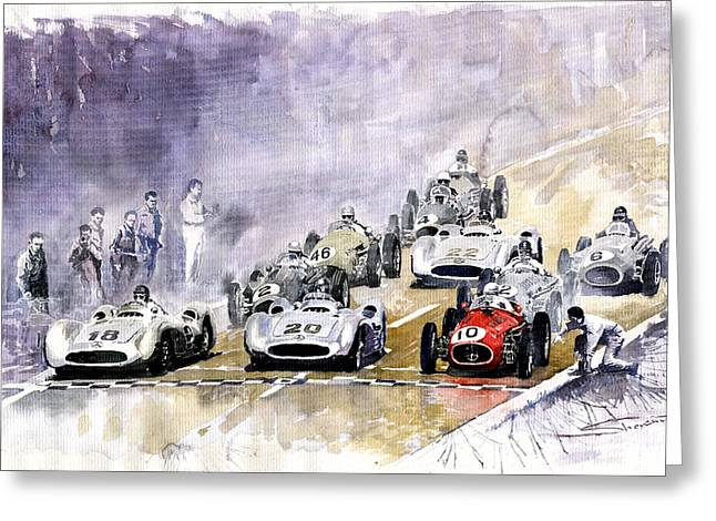Racing Car Greeting Cards - Red Car Maserati 250 France GP Greeting Card by Yuriy  Shevchuk