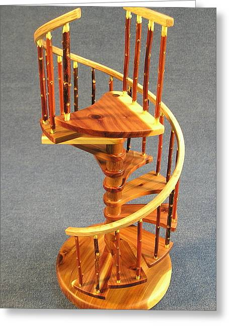 Model Sculptures Greeting Cards - Red Cedar rustic spiral stairs Greeting Card by Don Lorenzen