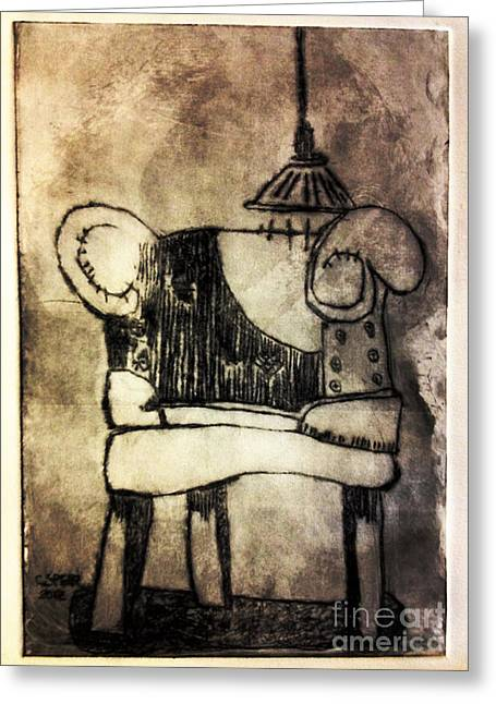 Drypoint Greeting Cards - RED CHAIR of READING edition of 6 Greeting Card by Charlie Spear