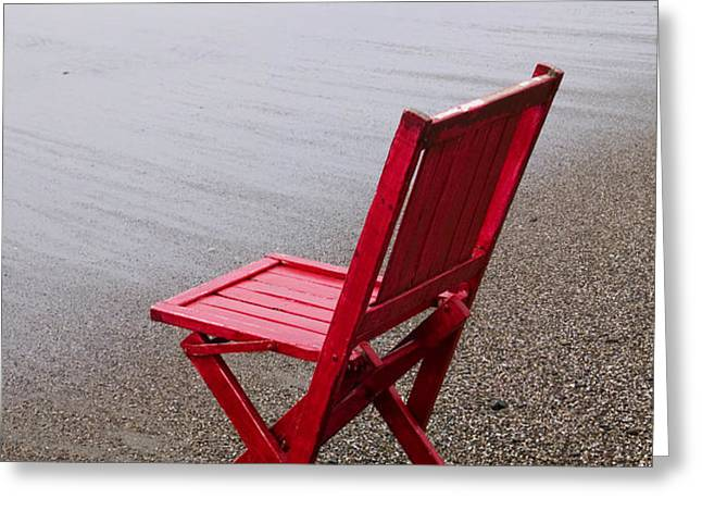 Red chair on the beach Greeting Card by Garry Gay