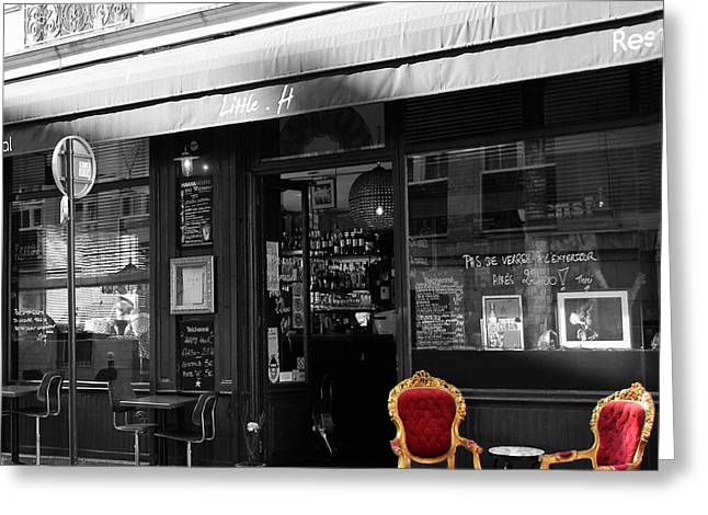 Black And White Paris Greeting Cards - Red Chairs Greeting Card by Andrew Fare
