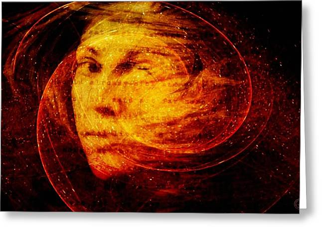 Woman Head Greeting Cards - Red Chaos Greeting Card by Gun Legler