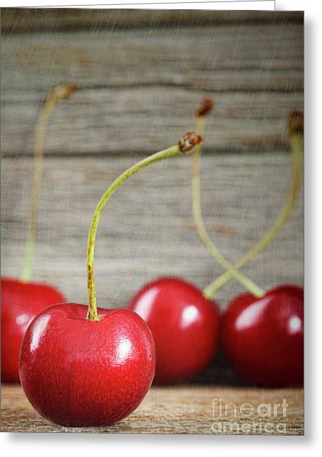 Vitamin Greeting Cards - Red cherries on barn wood Greeting Card by Sandra Cunningham