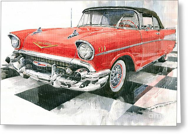 Auto Greeting Cards - Red Chevrolet 1957 Greeting Card by Yuriy  Shevchuk