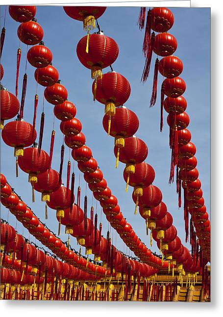 Incense Sticks Greeting Cards - Red Chinese Lanterns at Thean Hou Temple in Kuala Lumpur Greeting Card by Zoe Ferrie