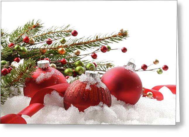 Spheres Greeting Cards - Red christmas balls in the snow  Greeting Card by Sandra Cunningham