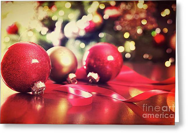 Backdrop Greeting Cards - Red Christmas ornaments with vintage look  Greeting Card by Sandra Cunningham