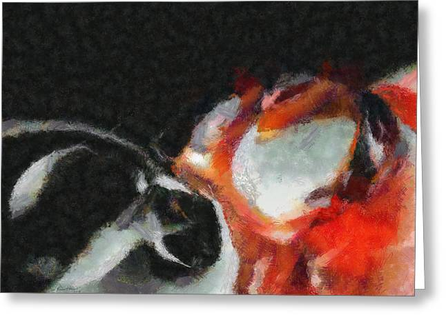 Circle Pastels Greeting Cards - Red Circle Abstract Greeting Card by Russ Harris