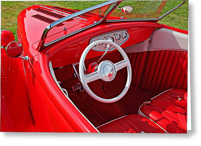 Jalopy Greeting Cards - Red classic car Greeting Card by Garry Gay
