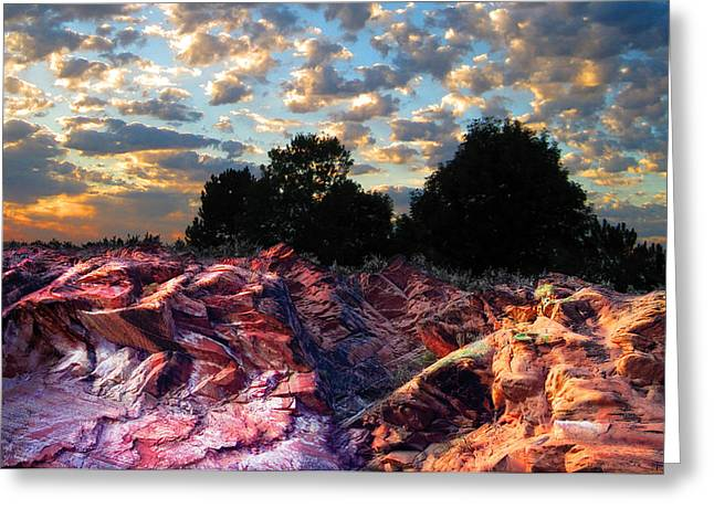 Luminist Greeting Cards - Red Cliff Sunset Greeting Card by Ric Soulen