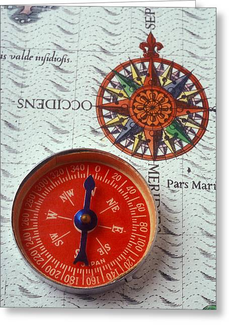 Longitude Greeting Cards - Red compass and rose compass Greeting Card by Garry Gay