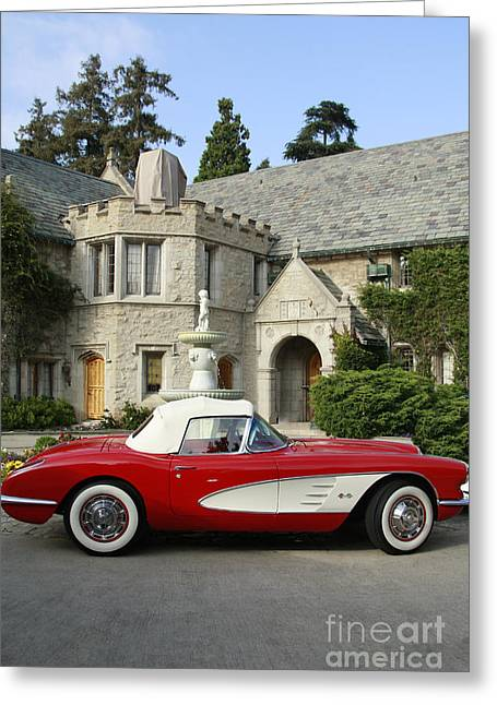 Playboy Bunny Greeting Cards - Red Corvette outside the Playboy Mansion Greeting Card by Nina Prommer
