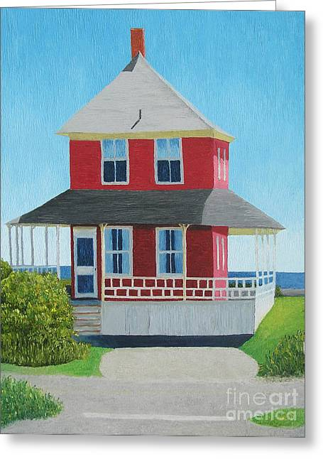 Maine Beach Paintings Greeting Cards - Red Cottage Summer Greeting Card by Barbara Nolan